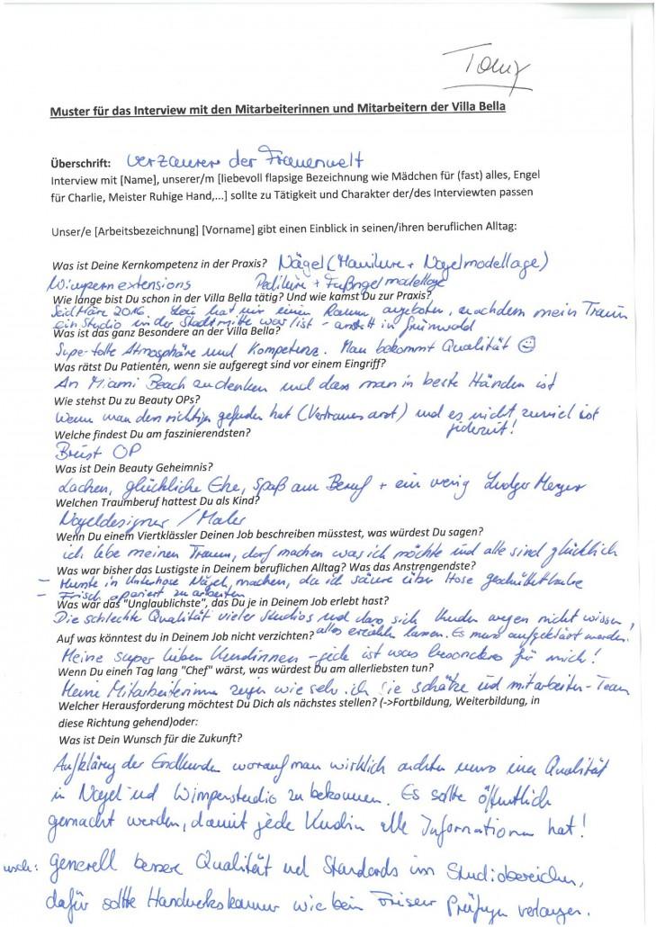 Interview Tommy Toro (handschriftliches Original=